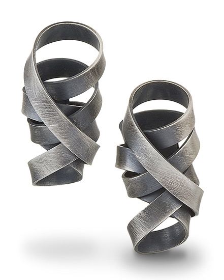 Wrapped Ribbon Earrings - Silver Earrings - by Rina S. Young