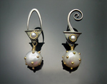 Gold, Silver, & Pearl Earrings by Susan Chin