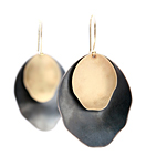 Silver & Bimetal Earrings by Rebecca Overmann