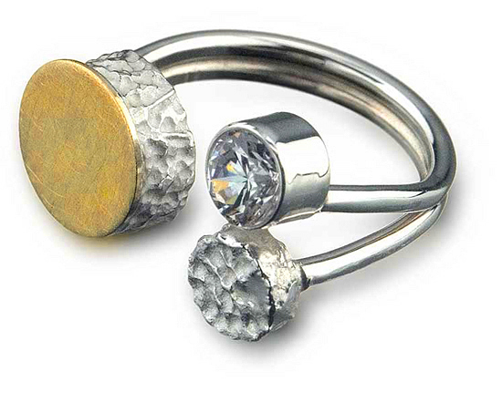 Floating Dot Ring - Silver, Gold & Stone Ring - by Elizabeth Garvin