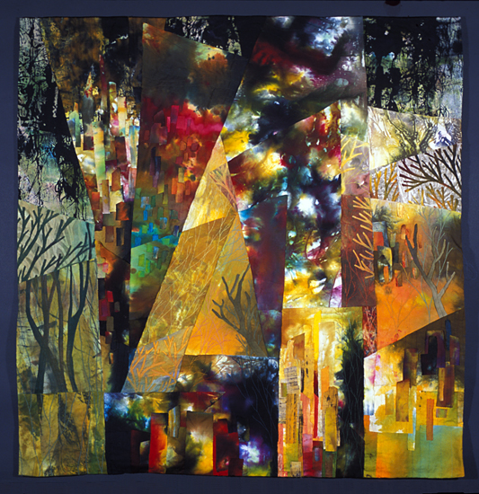 Central Park West Summer Night - Art Quilt - by Linda Levin