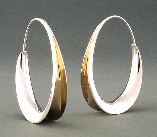 Oval Earrings - Silver & Gold Earrings - by Nancy Linkin