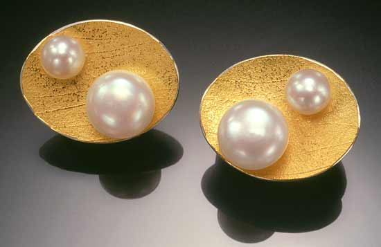 Still Pool Earrings - Gold, Silver & Pearl Earrings - by Christine MacKellar