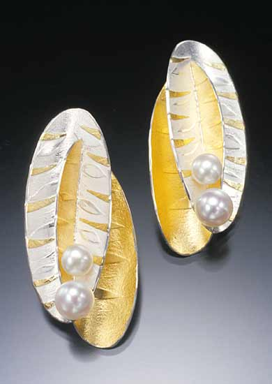 Double Leaf Earrings - Gold, Silver & Pearl Earrings - by Christine MacKellar