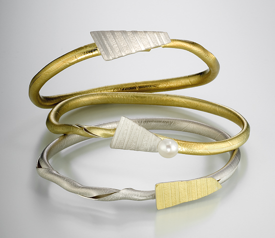 Twig Bracelets - Silver & Gold Bangles - by Christine MacKellar