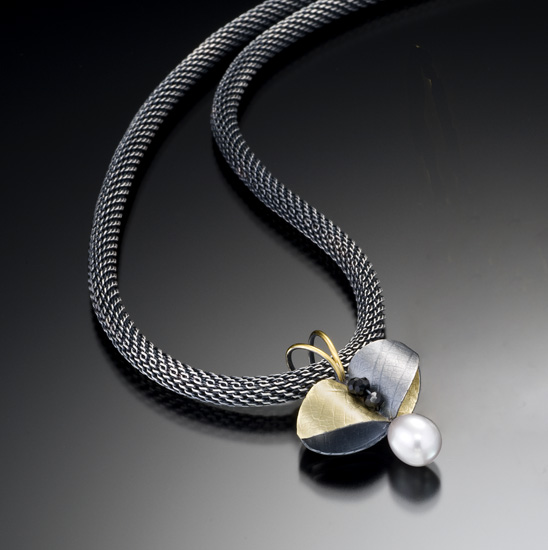 Butterfly Leaf Pendant - Bimetal, Pearl, & Stone Necklace - by Christine MacKellar