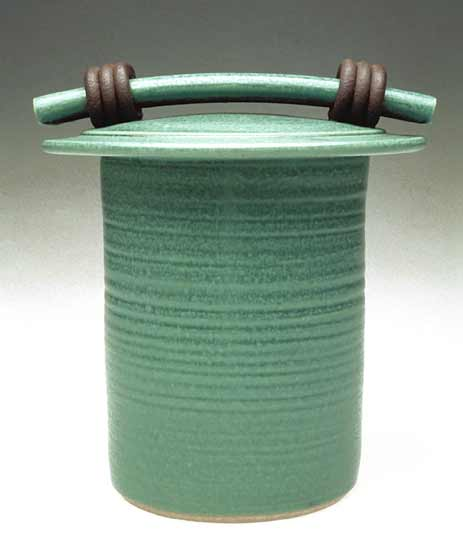 Green Storage Jar - Ceramic Jar - by Jan Schachter