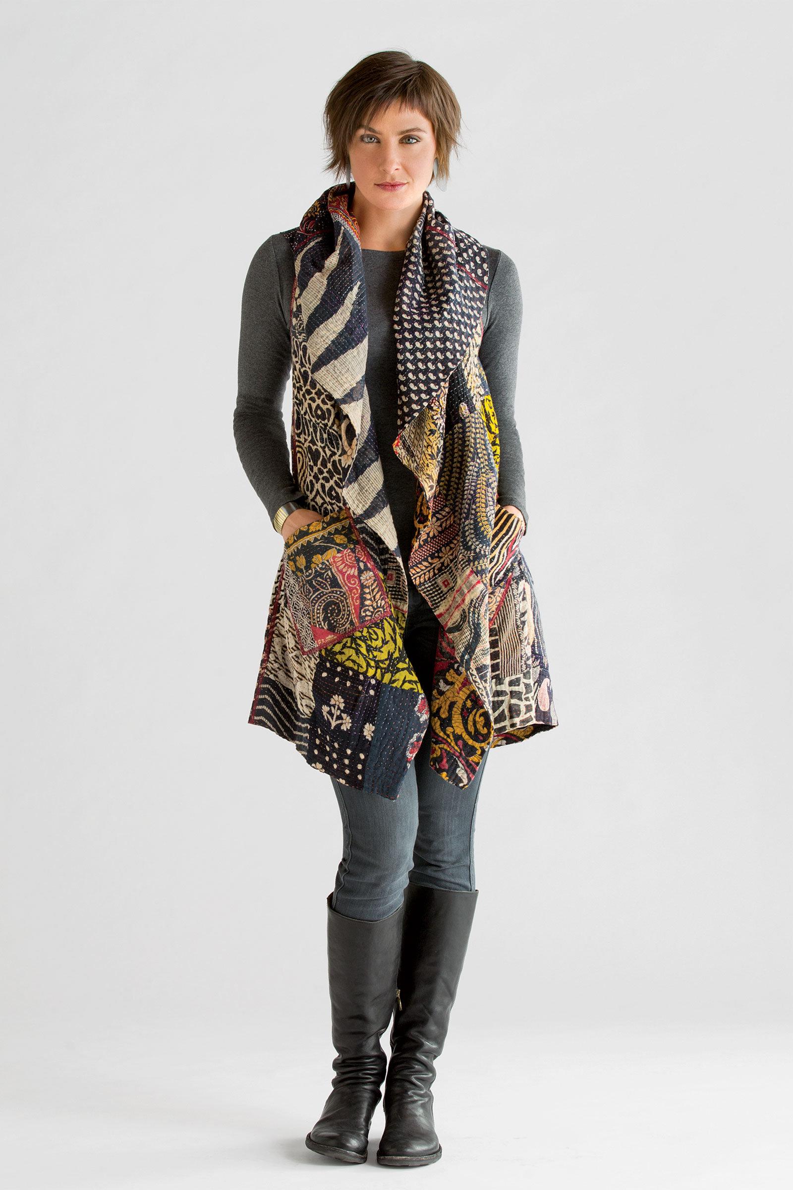 Kantha Patchwork Vest By Mieko Mintz Cotton Vest