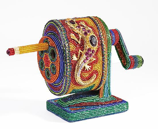 Pencil Sharpener - Beaded Sculpture - by Kathy Wegman