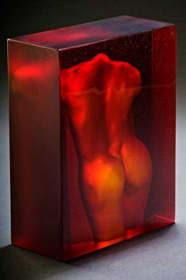 Red Nude Back Reverse - Art Glass Sculpture - by Brian Russell