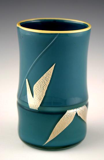 Short Bamboo Vase - Art Glass Vase - by Richard S. Jones