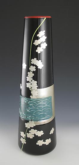Waves and Flowers Vase - Art Glass Vase - by Richard S. Jones