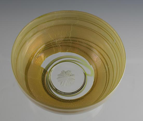 Silver Bowl with Engraved Flower - Art Glass Bowl - by Richard S. Jones