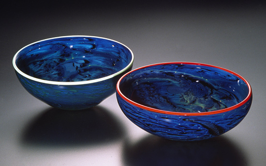 Blue New Mexico Bowl - Art Glass Bowl - by Josh Simpson
