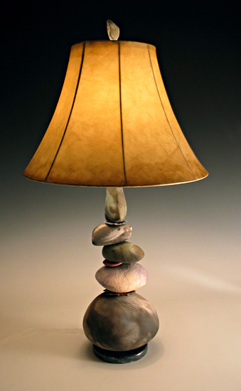 arge Cool Earth Cairn Lam - Ceramic Lamp - by Jan Jacque