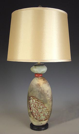 Rockin Red Lamp - Ceramic Table Lamp - by Jan Jacque