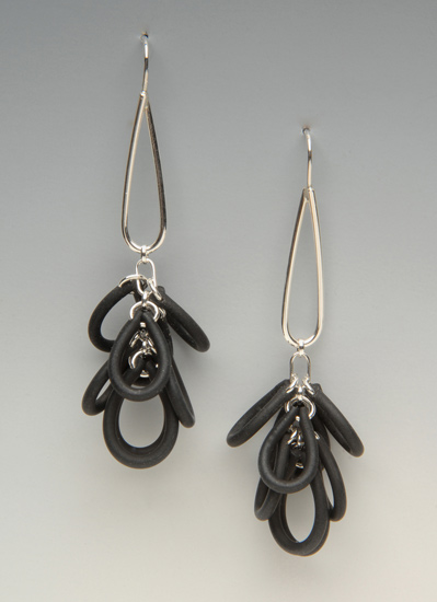 Shag Earrings - Silver & Neoprene Earrings - by Lonna Keller