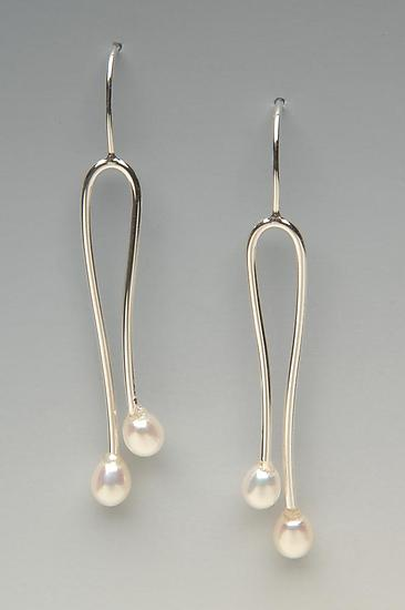 Double Pearl Earrings - Silver & Pearl Earrings - by Lonna Keller