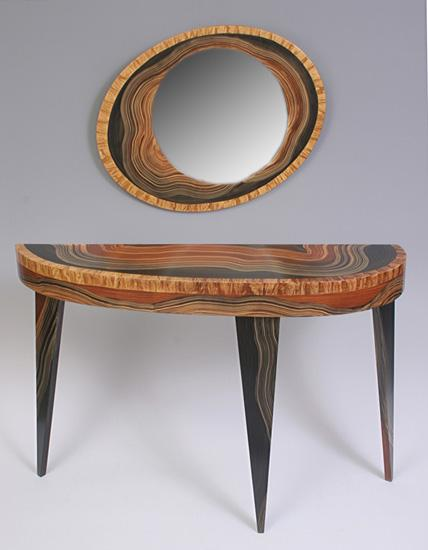 Yucatan Mirror and Console - Wood Tables - Console and Hall - by Daniel Grant and Ingela Noren