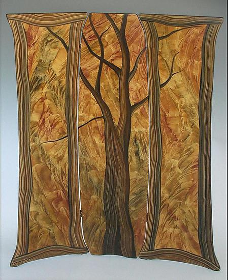 Tree Folding Screen - Wood Screen - by Daniel Grant and Ingela Noren
