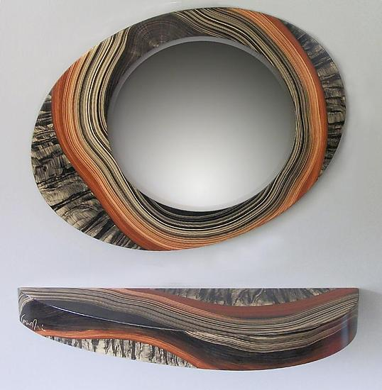 Yuma Mirror and Shelf - Wood Shelf and Mirror - by Daniel Grant and Ingela Noren