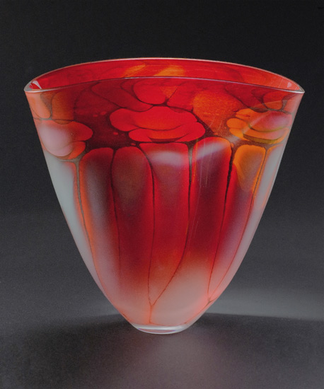 Fire Series Fan Vase - Art Glass Vase - by Steven Main