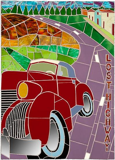 Lost Highway - Mosaic Wall Art - by Jonathan I. Mandell
