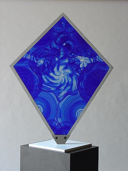 Blue Sun 02 - Art Glass Sculpture - by Dierk Van Keppel
