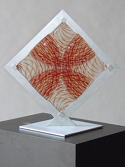 Red Fused Square 3 - Art Glass Sculpture - by Dierk Van Keppel