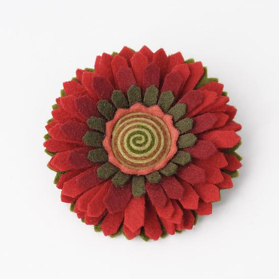 Chrysanthemum Felt Flower Pin - Felted Brooch - by Renee Roeder-Earley