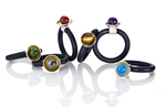 Rubber, Bimetal, & Stone Rings by Thea Izzi