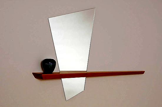 Alice's Looking Glass - Mirror & Wood Shelf - by John McDermott