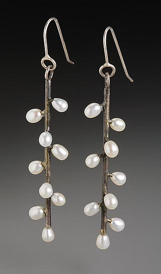 Twig Earrings - Silver & Pearl Earrings - by Randi Chervitz