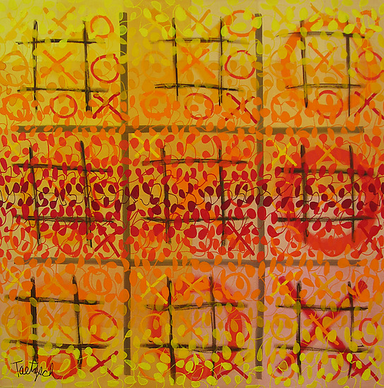 Tic Tac Three - Acrylic Painting - by Lynne Taetzsch