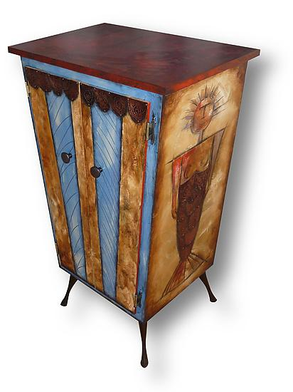 Merman Lady Liquor Cabinet - Wood Cabinet - by Wendy Grossman