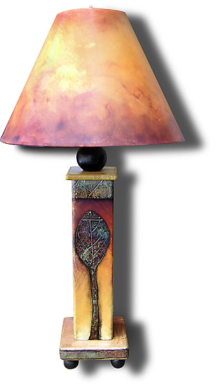 Two Leaf Lamp 2011 - Wood Table Lamp - by Wendy Grossman