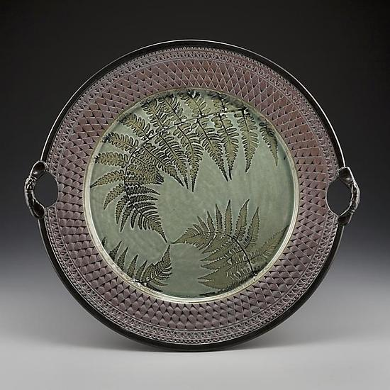 Three Ferns Handled Platter - Ceramic Plate - by Suzanne Crane