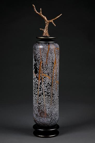 Grana Mali Zlato: Topaz Gold Tall Cylinder - Art Glass Vessel - by Eric Bladholm