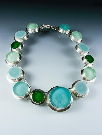 Sea of Circles Necklace - Silver & Glass Necklace - by Amy Faust