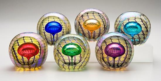 Faceted Reptilian Round Paperweights - Art Glass Paperweight - by Thomas Philabaum