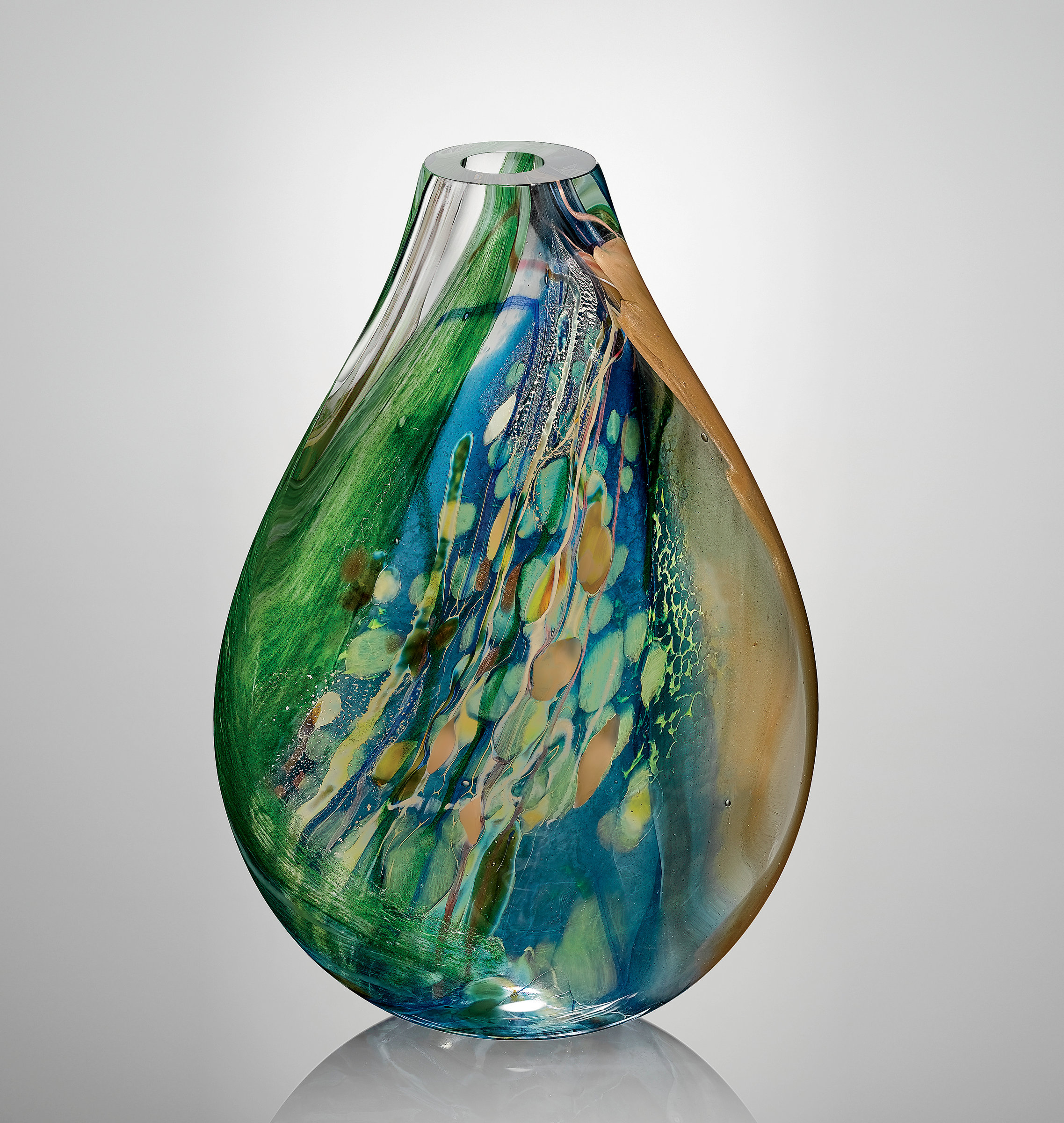 Aquos Flat - Art Glass Vessel - by Randi Solin
