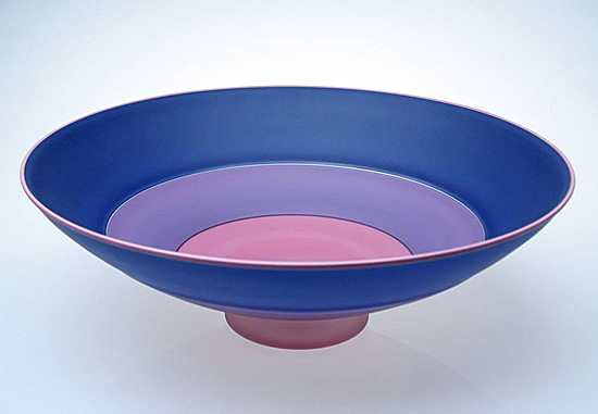 Frosted Three Part Blue Incalmo Bowl - Glass Bowl - by Nicholas Kekic