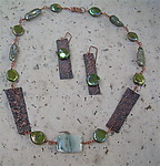 Copper & Pearl Necklace & Earring Set by Diana Lovett