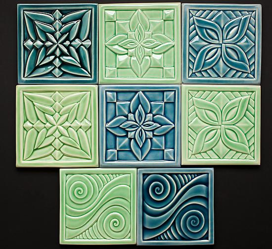 Flower and Swirl Tiles - Ceramic Tile - by Lynne Meade
