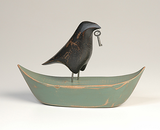 Raven on Boat - Wood Sculpture - by Mark Orr