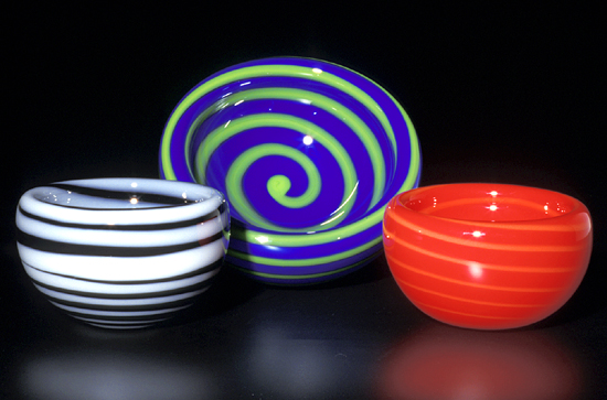 Spiral Bubble Bowl - Art Glass Bowl - by Cristy Aloysi and Scott Graham