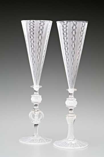 White Cane Wedding Goblets - Art Glass Goblets - by Kenny Pieper
