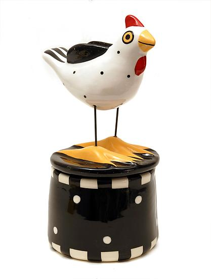 White Hen Box - Ceramic Jar - by Alison Palmer