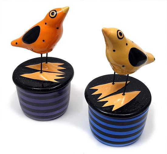 Bird Boxes - Ceramic Jar - by Alison Palmer