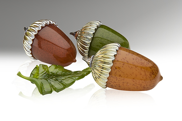 Acorn Paperweight - Art Glass Sculpture - by Michael Cohn and Molly Stone